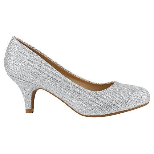 Damen Stiletto Pumps High Heels Glitzer Party Schuhe 142175 Silber Creme Glitzer 37 Flandell