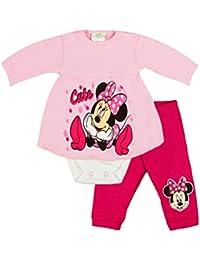 c3a33512e5 Mädchen Baby-Set 2-teilig von Minnie Mouse in GRÖSSE 56, 62, 68, 74, 80  rosa oder grau im LAGEN-LOOK, Baby-Schlafanzug mit Druck…