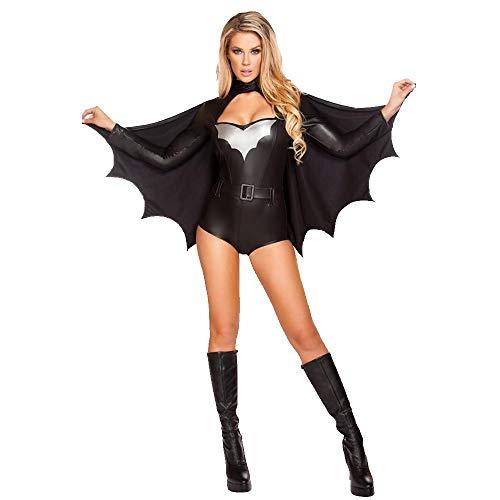 Krieger Kostüm Womens - JXJ Halloween Batman Kostüm Damen Nachtclub Halloween Kostüm Batman Sexy Ladies Party Gown Erwachsenen Kostüm Superman Krieger Kostüm Cosply Kostüm Schwarz Inklusive Fledermaus Mantel