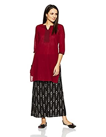 Amazon Brand- Myx Women's Mangalgiri Cotton Straight Kurta (AW16BALLY02E_Maroon_XX-Large)