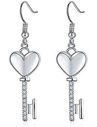69f3ce8d3b16 ZRDMN Joyería popular de la manera plateado pendientes de oro pendientes en  forma de corazón clave pendientes del…