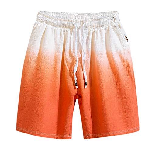 Dtuta Shorts Herren Sommer Freizeit Elastische Taille Farbverlauf Neue Multi-Pocket-Baumwolle Und Leinen FüNf Punkte Casual Shorts Elastische Binde Sport Fitness Einfache Hosen
