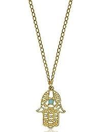 MESE London Collar Con Colgante De La Mano Hamsa De Fátima De Oro - Elegante Caja De Regalo