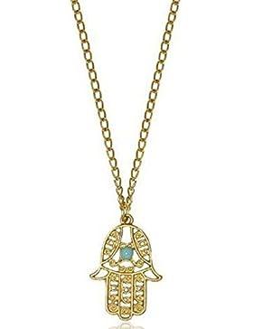 MESE London Goldener Anhänger Hamsa Hand Fatima Halskette - Elegante Geschenkverpackung