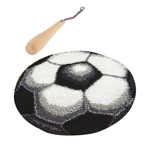 Baoblaze Latch Hook Rug Kit Fußball, Teppich Knüpfset Knüpfteppiche für Kinder und Erwachsene