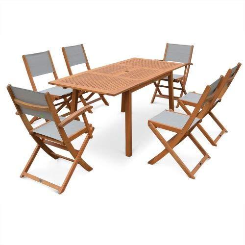 Salon de Jardin en Bois Extensible - Almeria - Table 120/180cm avec rallonge, 2 fauteuils et 4 chaises, en Bois d'Eucalyptus FSC huilé et textilène Gris Taupe