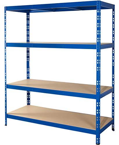 Schwerlastregal | 150 cm breit | CALLIDUS BAUMARKT | blau pulverbeschichtet | 178,5x150x50cm ✓ 4 Böden je max. 250 kg Tragkraft ✓ Lagerregal Metallregal Kellerregal
