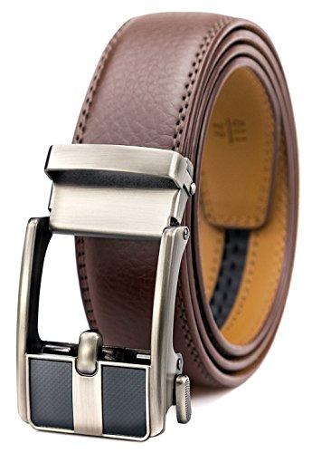 GFG Herren Gürtel,Leder Automatik Gürtel Für Herren Jeans Anzug Gürtel-3,5cm Breite-0100-110-Braun