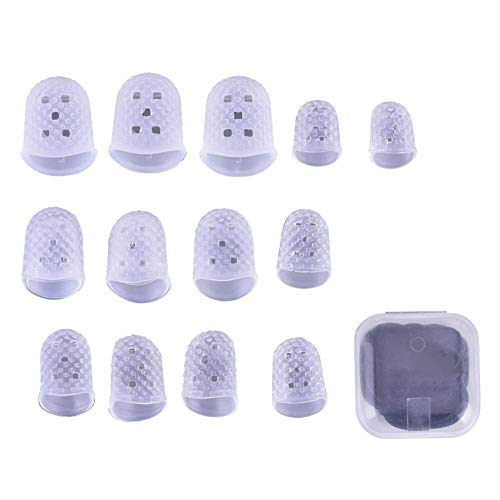 Alomejor Silica Gel Fingertip Protectors Fingerstall And Guitar Finger Picks Practicing Tools Set (Finger-picks-set)