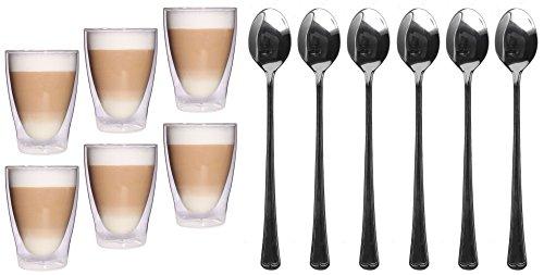 Feelino 6x 300ml XL doppelwandige Latte Macchiato Gläser + 6x Löffel, Eistee und Longdrinkglas