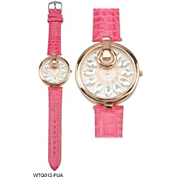Rose Gold Coloured Bezel Round Shaped Face Ladies Watch with Pink Strap