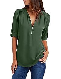 65b824087dd7 Yidarton Damen Blusen Chiffon Langarm Tunika mit Reißverschluss Vorne  V-Ausschnitt Oberteile T-Shirt