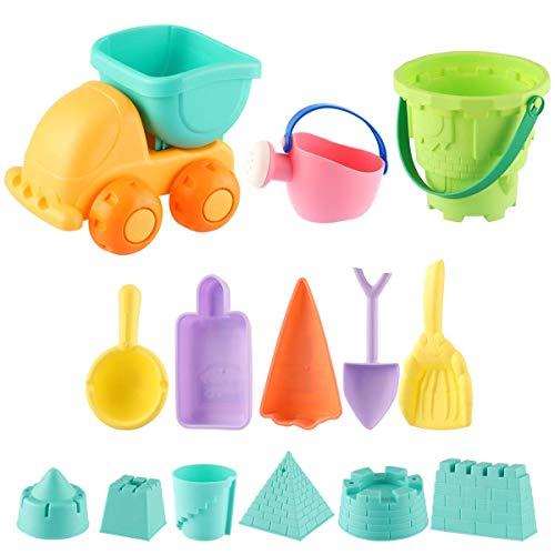 ele ELEOPTION Sandspielzeug Strandspielzeug 14teilig Sandspielset, Wasserspielzeug inkl.Eimergarnitur und Schaufeln und für Kinder Kleinkinder Jungen Mädchen