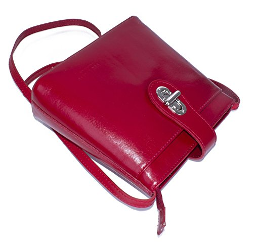 Borsetta piccola a tracolla in vera pelle italiana di Big Handbag Shop Black - Red Trim (KL496)