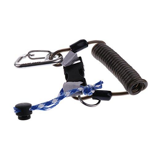 Baoblaze Edelstahl-Tauchseil Elastische Kamera Handschlaufe Sicherungsgurt Mit Verschluss - Schwarz