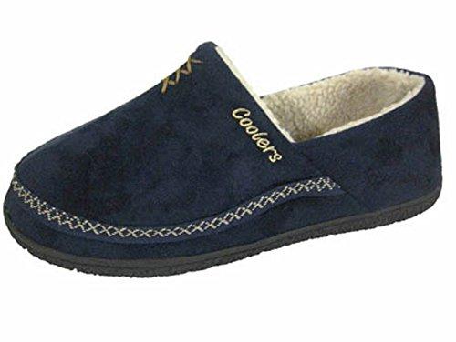 Men's Microsuède Raffreddatore Mule caldo marginata Pantofole misure 7, 12 Navy
