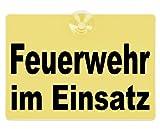 Warnschild Feuerwehr im Einsatz 20x15cm gelb
