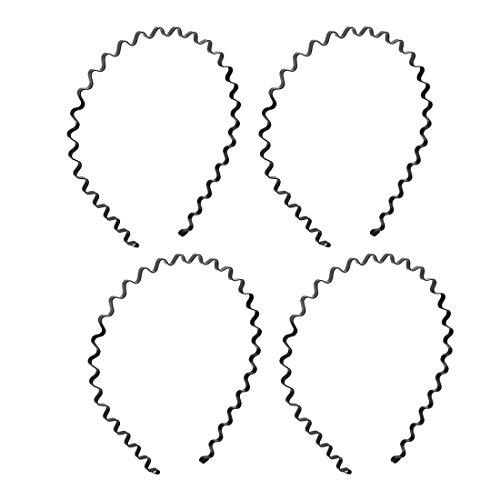 Stirnband - SODIAL(R) Frauen Maenner Sport Metal Welle Rahmen Haarreifen mit Stirnband schwarz 4 Stueck