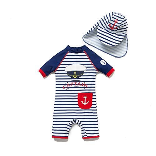 Bonverano Baby Junge EIN stück Kurzärmel-Kleidung UV-Schutz 50+ Badeanzug MIT Einem Reißverschluss(Blau-JunHüte,3-6M) -