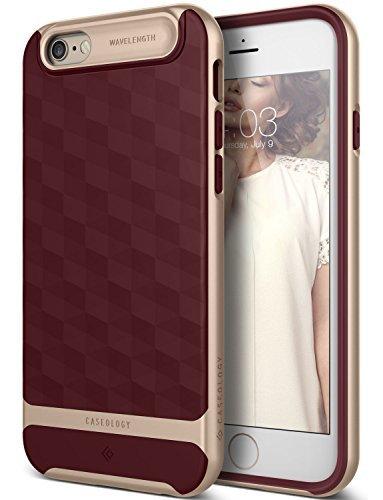 iPhone 6S Hülle, Caseology [Parallax Serie] Schlank Doppelte Schutz Haftung dank Textur geometrischem Design [Burgund - Burgundy] für Apple iPhone 6S (2015) & iPhone 6 (2014)