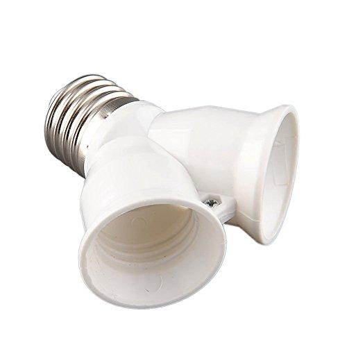Gladle Prise à vis E27 LED CFL Light Bulb Lamp Convertisseur 1 à 2 adaptateur Splitter blanc