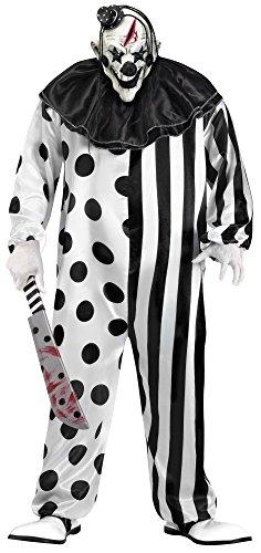 Erwachsene Clown Kostüme Plus (Horror Clown Halloween Kostüm schwarz/weiß -)