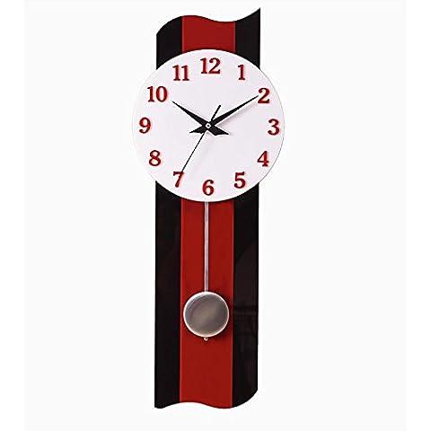 MCC Kreative Wanduhr Schlafzimmer Wohnzimmer Mode Persönlichkeit Dekoration Rot Schwarz Mute Clock , b