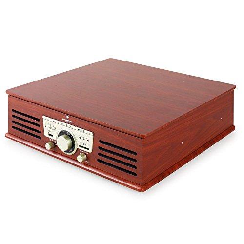 auna TT-92B Plattenspieler Schallplattenspieler (USB-SD-Slot, AUX-IN, UKW Radio, Stereo-Lautsprecher, Holzfurnier) braun - 8