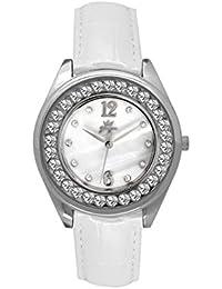 Yonger pour elle DCC 1602/33 - Reloj , correa de cuero color blanco