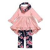 TPulling Baby Mädchen Junge Kleidung Unregelmäßige Kleider Blumendruck Hose Schal Outfits Set