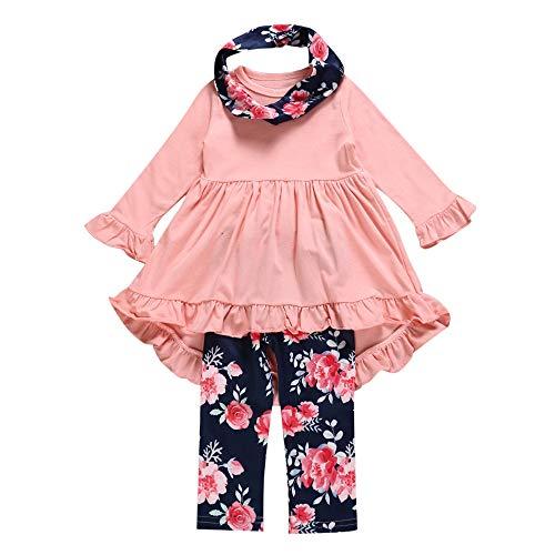 TPulling Baby Mädchen Junge Kleidung Unregelmäßige Kleider Blumendruck Hose Schal Outfits Set (Winnie Pooh Halloween-kostüm Für Baby)