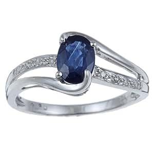 Véritable saphir bleu en Or blanc 10k et une Bague en Diamants (1/10 ct)