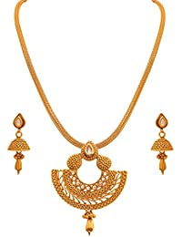 JFL - Traditional Ethnic One Gram Gold Plated Polki Diamond Designer Pendant Set For Women And Girls