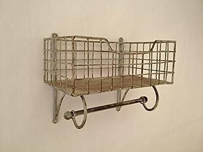 Wire Metal Shelf And Rail Unit Kitchen Wall Rack Vintage Storage Industrial Organiser - inexpensive UK light shop.