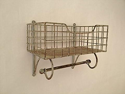 Wire Metal Shelf And Rail Unit Kitchen Wall Rack Vintage Storage Industrial Organiser