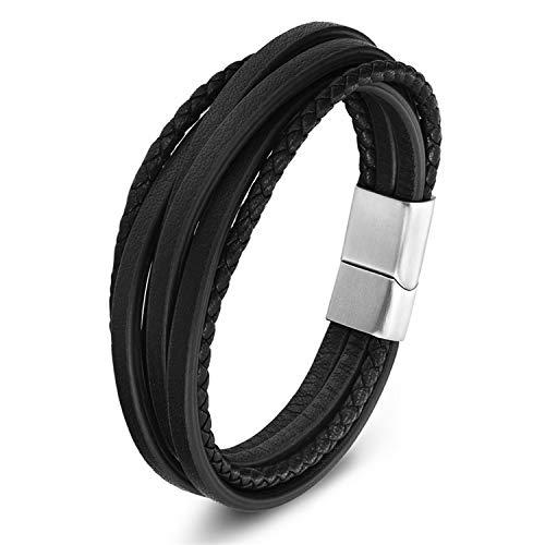 Armband Armreif,Schmuck Geschenk, Multi-Layer Stainless Steel Buckle Black/Brown Genuine Leather Bracelet for Men Women Classic Design for Surprise Gift Black 21cm