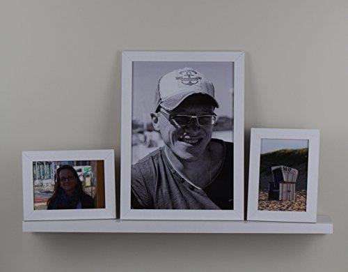 Homedeco-24 Iris Bilderrahmenleiste Set bestehend aus Fotoleiste in weiß und 3 Bilderrahmen in zwei verschieden Farben hier: Weiss