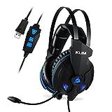 KLIM IMPACT - Gaming Headset und Mikro (USB) - 7.1 Surround-Sound + Isolation - Hochqualitativer Klang + Klangvolle Bässe - Gaming Headset und Mikro für PC PS4 Videospiele