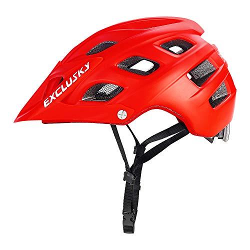 Exclusky Casque de Vélo Casques VTT pour Adulte Homme Femme L 56-61cm (Rouge)