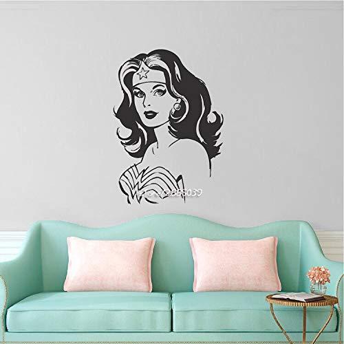 Wonder Woman Wandaufkleber Art New Design Wohnkultur Vinyl Removable House Dekoration Cartoon Mädchen Wandtattoos 43x58 cm (Wonder Woman Blatt)