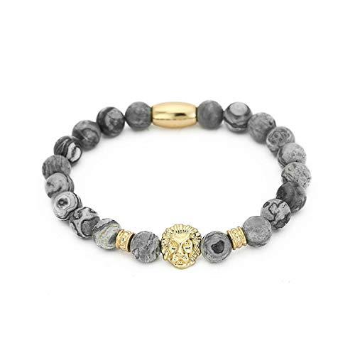Awertaweyt Edelstein Perlen Armband Fashion Masculinas Natural Marble Stone Lion Head Bracelet Women Pulseras Hombre Bracciali Men's Elastic Bead Bracelet Size M RB2132