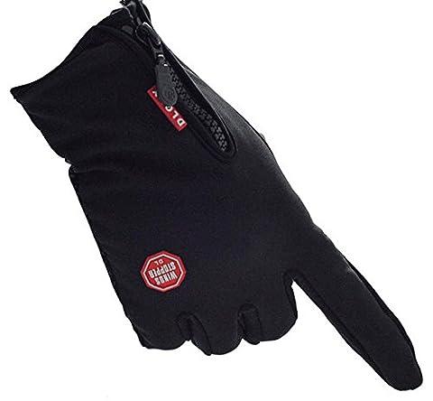 Herren Winter-Handschuhe Anti-Rutsch-Handschuhe Verdickte und wasserdichte Handschuhe für Outdoor-Aktivitäten wie Radfahren Bergsteigen Angeln Wandern Skifahren Fahren Reiten,Schwarz,L