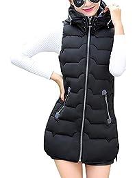 Mujer Chaleco Sin Mangas Abrigos con Capucha Pluma Acolchado de Invierno