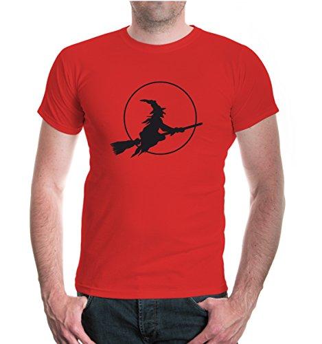 buXsbaum® T-Shirt Halloweenhexe Red-Black
