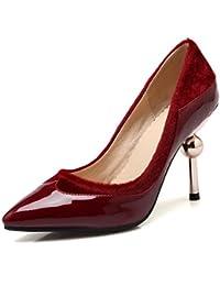AgooLar Mujer Cremallera Tacón Medio Sólido Puntera Cuadrada Botas, Rojo, 42