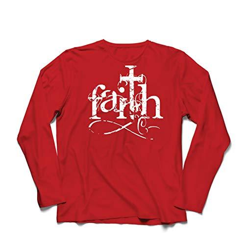 lepni.me Herren T Shirts Der Glaube an den Gott Jesus Christus - Symbol des christlichen Kreuzes (Small Rot Mehrfarben) (Birthday Happy Christus Jesus)