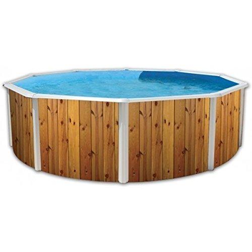 Piscina acero redonda veta decoracion madera 3,50 x 1,20m 8393