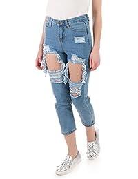 La Modeuse - Jeans taille haute délavé et destroy