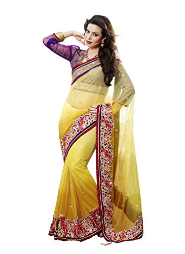 Mahotsav Shaded Mustard Net Embroidered Designer Party Wear Saree  available at amazon for Rs.2345