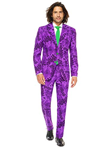 Opposuits Licensed Halloween Costumes for Men - Full Suit: Jacket, Pants and Tie, The Joker,56 (Einfach Joker Kostüm)